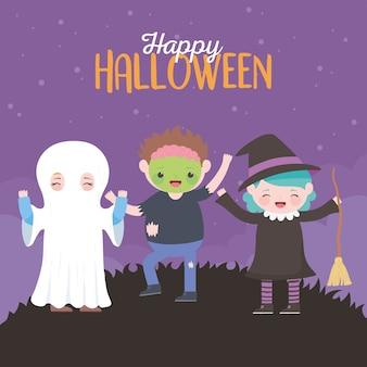 Feliz halloween, momia bruja zombie disfraz de niños, celebración de fiesta de truco o trato