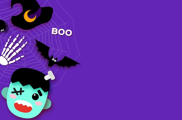 Feliz halloween. monstruo frankenstein. truco o trato. murciélago, araña, telaraña, huesos. espacio para texto vector púrpura