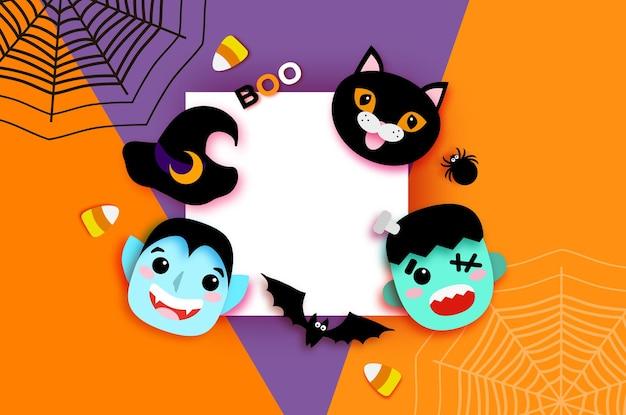 Feliz halloween. monstruos drácula y gato negro, frankenstein. vampiro espeluznante divertido. truco o trato. murciélago, araña, telaraña, caramelo, huesos. espacio cuadrado para texto vector naranja