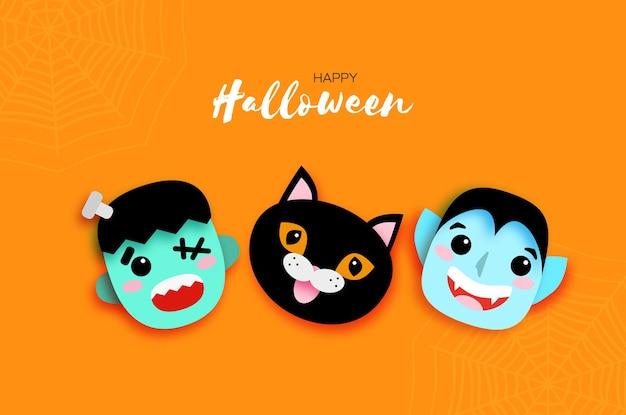 Feliz halloween. monstruos sonríe drácula, gato negro, frankenstein. vampiro espeluznante divertido. truco o trato. espacio para texto naranja