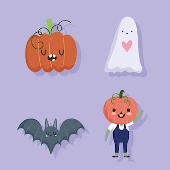 Feliz halloween, murciélago de calabaza fantasma y disfraz de truco o trato ilustración de vector de celebración de fiesta