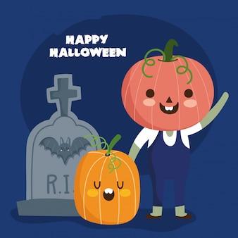 Feliz halloween, niño con disfraz de calabaza y lápida truco o trato ilustración de celebración de fiesta
