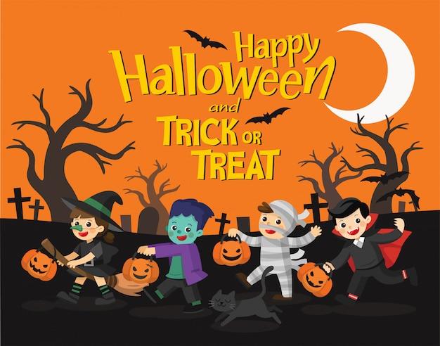 Feliz halloween. niños vestidos con disfraces de halloween para ir a trick or treating. plantilla para folleto publicitario.