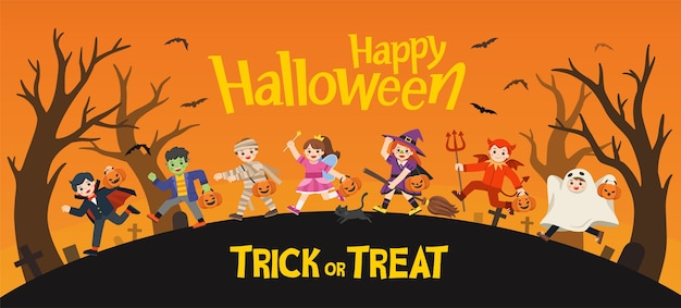 Feliz halloween. niños vestidos con disfraces de halloween para ir a trick or treating.plantilla para folleto publicitario.