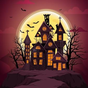 Feliz halloween con noche y castillo aterrador.