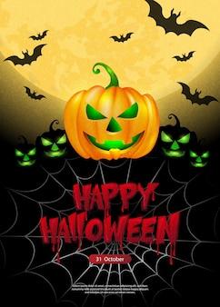 Feliz halloween noche oscura luna llena miedo jack lantern murciélago y texto de diseño tipográfico sangriento
