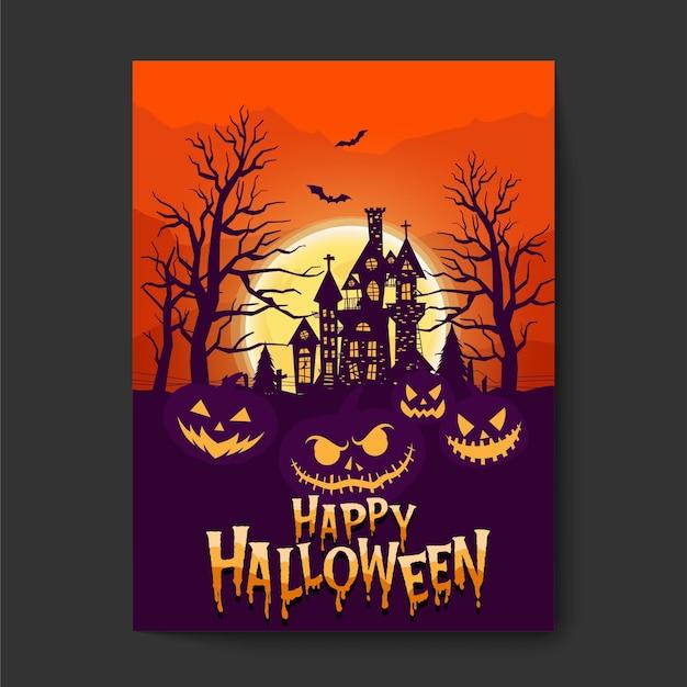 Feliz halloween o fondo de invitación de fiesta con nubes nocturnas y castillo aterrador.