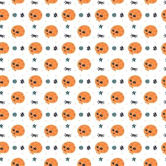 Feliz halloween de patrones sin fisuras. calavera con araña.