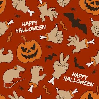 Feliz halloween de patrones sin fisuras con linternas de jack manos gusanos y murciélagos sobre fondo rojo.