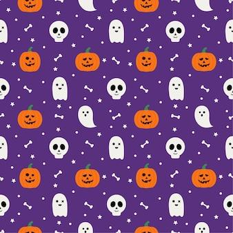 Feliz halloween de patrones sin fisuras sobre fondo púrpura.
