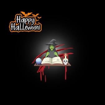Feliz halloween con personaje de dibujos animados de brujas