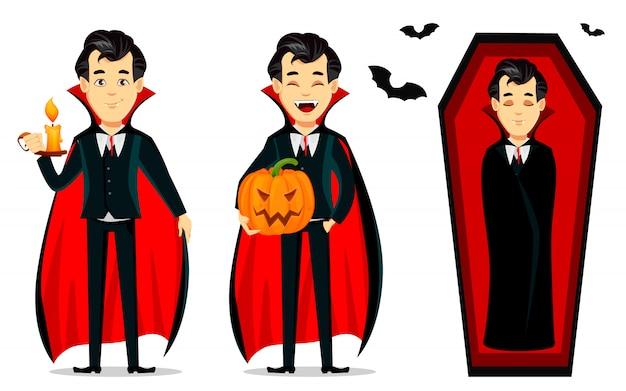 Feliz halloween. personaje de dibujos animados vampiro