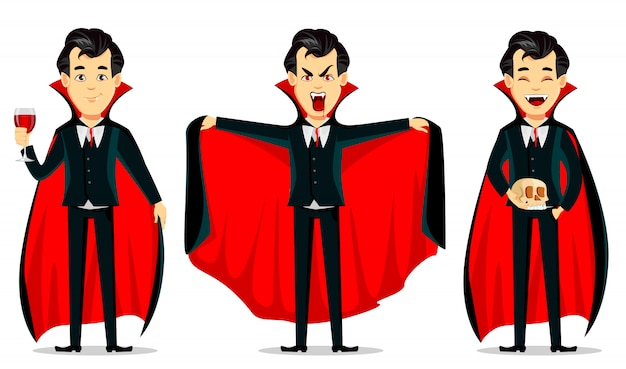 Feliz halloween, personaje de dibujos animados de vampiros