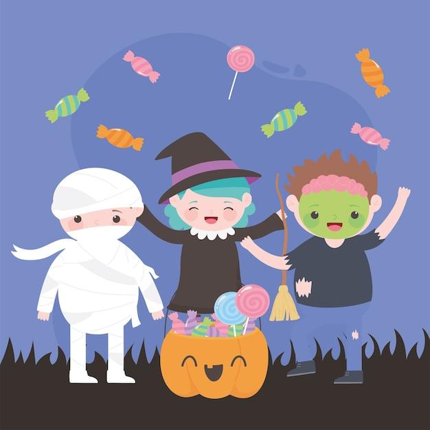 Feliz halloween, personajes de disfraces bruja momia zombie con calabaza y dulces, truco o trato, celebración de fiestas
