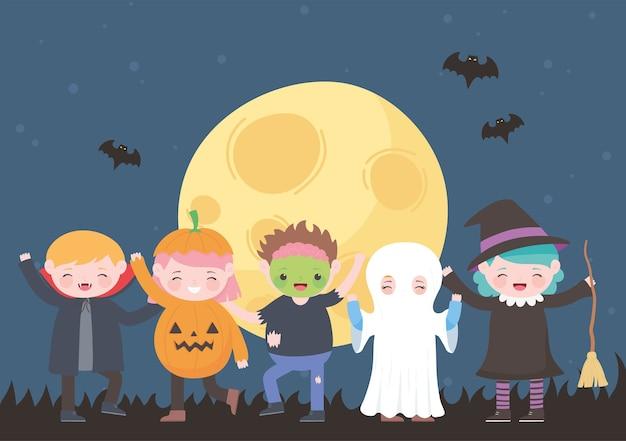 Feliz halloween, personajes de disfraces, momia, calabaza, fantasma, drácula, bruja, zombie, celebración de fiestas