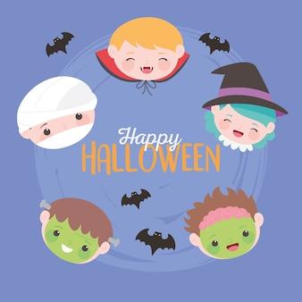 Feliz halloween, personajes de disfraces rostros de niños, truco o trato, celebración de fiestas