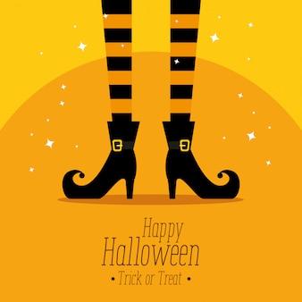 Feliz halloween con pies de bruja