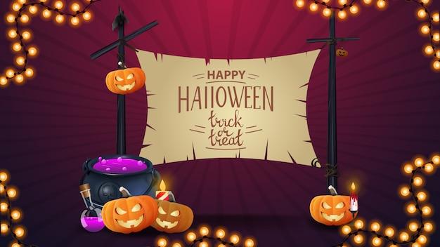 Feliz halloween, plantilla de banner con hermosas letras, caldero de bruja y calabaza jack.