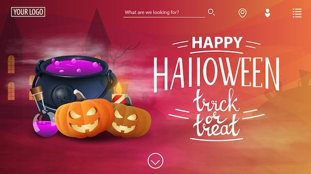 Feliz halloween, plantilla para el sitio con felicitaciones