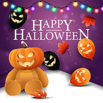 Feliz halloween, postal de saludo cuadrado púrpura