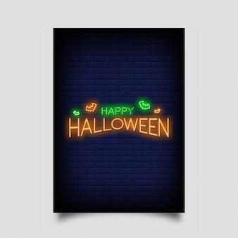 Feliz halloween para póster en estilo neón.