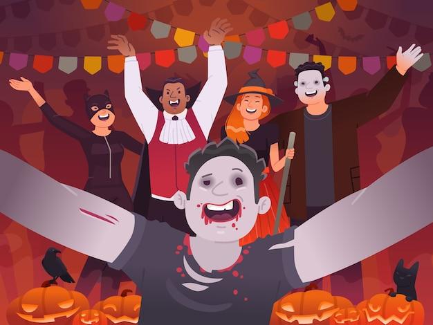 Feliz halloween. selfie de personas vestidas con disfraces espeluznantes y celebrando una fiesta. fiesta de halloween. ilustración en estilo plano.
