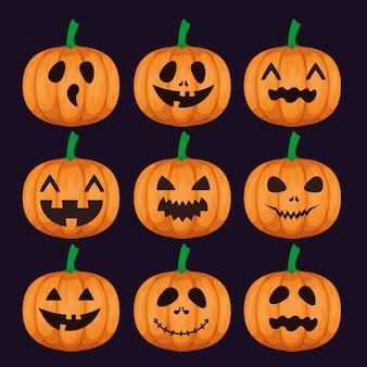 Feliz halloween con set de calabazas