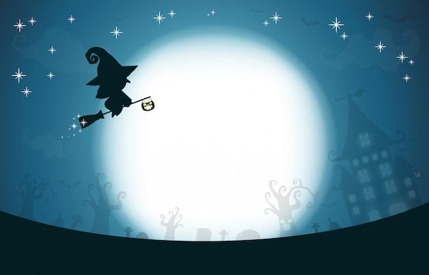 Feliz halloween, silueta de bruja en la luna, fondo de diseño de tema