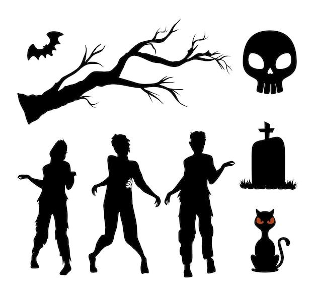 Feliz halloween siluetas set decoración