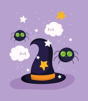 Feliz halloween, sombrero de bruja, araña, nubes, estrellas, truco o trato, fiesta, celebración, vector, ilustración