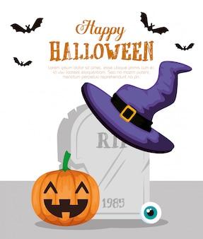 Feliz halloween con sombrero de bruja pumpkinand