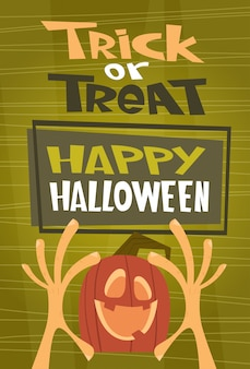 Feliz halloween. tarjeta de felicitación del concepto de truco o trato invitación fiesta de terror