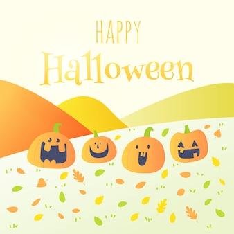 Feliz halloween tarjeta de felicitación de la fiesta de calabaza divertida