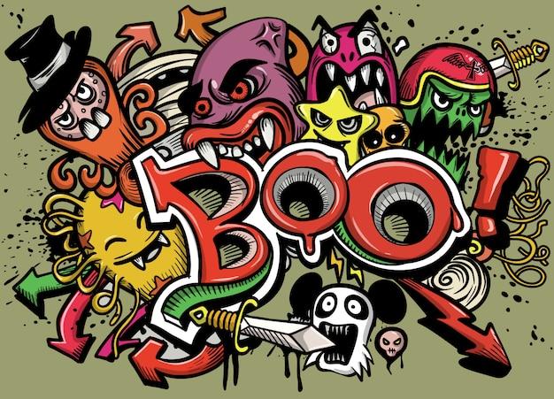 Feliz halloween tarjeta de felicitación ilustración vectorial, boo! con monstruos ilustración vectorial de dibujos animados.