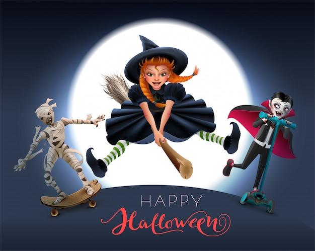 Feliz halloween tarjeta de felicitación de texto. bruja en escoba, momia y vampiro en la noche