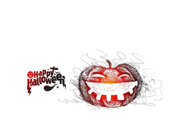 Feliz halloween texto con diseño de vector de boceto dibujado a mano de calabaza.