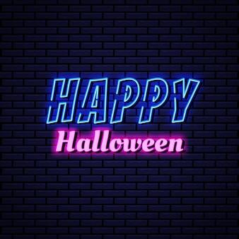 Feliz halloween texto neón
