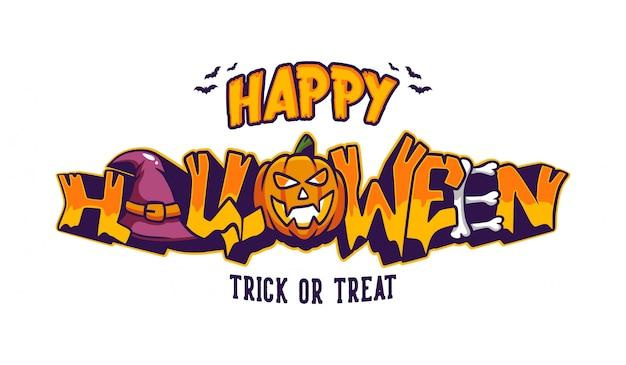 Feliz halloween truco o trato letras con banner de estilo graffiti