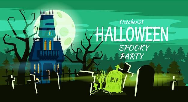 Feliz halloween tumbas del cementerio mansión abandonada aterradora solitaria.