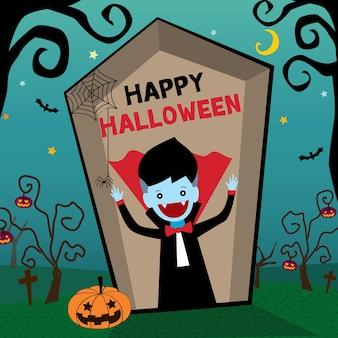 Feliz halloween vampiro y ataúd en el cementerio.