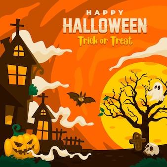 Feliz halloween vector para fondo, papel tapiz, publicación en redes sociales, tarjeta postal