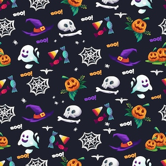 Feliz halloween vector ilustración de patrones sin fisuras