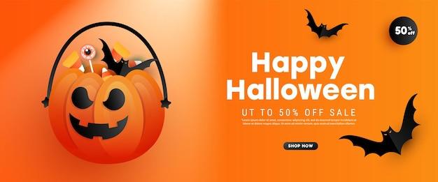 Feliz halloween venta banner concepto de vacaciones decoraciones de halloween caramelo calabaza