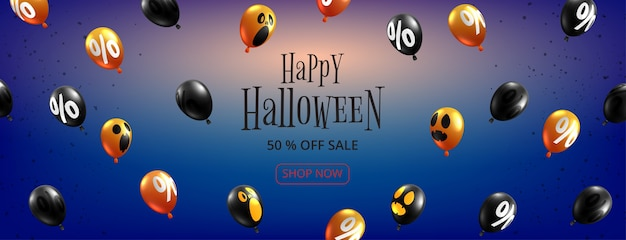Feliz halloween venta banner fondo papel cortado estilo.globos fantasma de halloween volando sobre fondo azul.