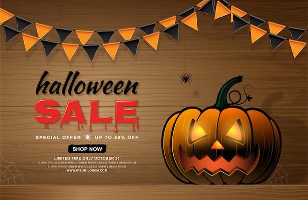 Feliz halloween venta banner plantilla calabaza y tela de araña