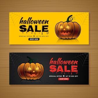 Feliz halloween venta banner plantilla calabazas y tela de araña