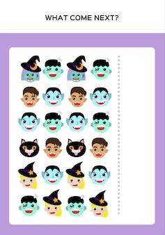 Feliz halloween what come next juego para niños con monstruos. juego educativo para niños. vector