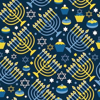 Feliz hanukkah estampado de patrones sin fisuras con menorah, david star