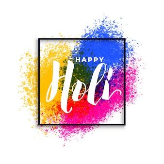 Feliz holi colores salpicaduras festival de fondo