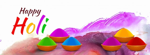 Feliz holi indian festival colorido diseño de banner